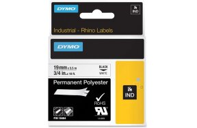 DYMO RHINO PERMANENT POLYESTER 19mm x 5,5m (BLACK on WHITE)